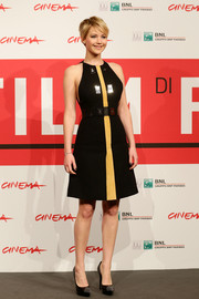 Jennifer Lawrence chose a pair of embellished black Saint Laurent platform pumps to complete her look.