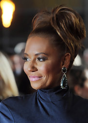 Melanie Brown attended 'The Hunger Games' European premiere wearing her hair in a high tousled ponytail.