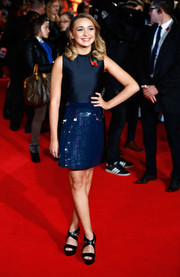 Lauren Platt was mod-glam at the 'Mockingjay' London premiere in a blue mini with a paillette-embellished skirt.