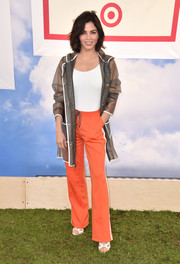 Jenna Dewan-Tatum went sporty in a pair of orange track pants at the Hunter for Target Ultimate Family Festival.