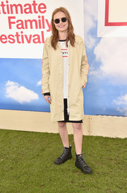 Kate Bosworth stayed casual in this hooded khaki trenchcoat at the Hunter for Target Ultimate Family Festival.