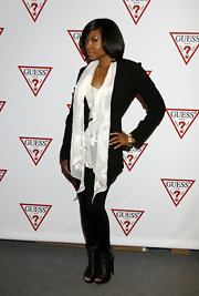 Taraji wears a delicate burn-out white scarf for the Toronto Film Festival.