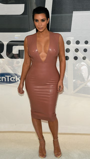 Kim Kardashian's dusty-rose Atsuko Kudo latex pencil dress at the Hype Energy Drink launch looked like it was either poured or painted on her.