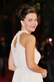 Maggie Gyllenhaal went for a pretty and polished-looking updo at the 'Hysteria' premiere in Rome.