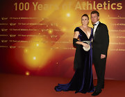 Sally Pearson was a vision in an opulent velvet number with a plunging neckline cinched by a slim gold belt as she attended the IAAF Centenary Gala Show.