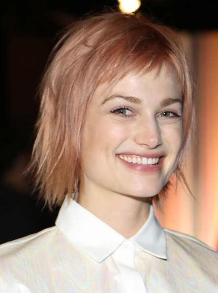 Alison Sudol turned heads with her pink-dyed razor cut at the ICB fashion show.