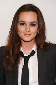 Leighton Meester finished off her slate gray suit with metallic silver shadow and a glossy nude lip.