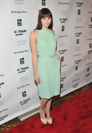 Felicity Jones was minty fresh at the Gotham Independent Film Awards. The British starlet finished off her look with cream platform sandals.