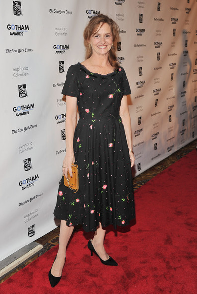 Melissa Leo donned a black retro frock with a rose bud print to the Gotham Independent Film Awards.