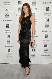 Lake Bell went for edgy elegance in a sleeveless satin LBD during the Gotham Independent Film Awards.