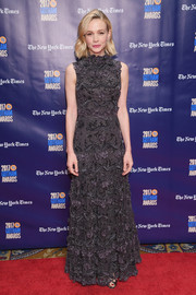Carey Mulligan chose a richly embroidered gray gown by Dior Couture for the 2017 Gotham Independent Film Awards.