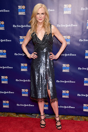 Nicole Kidman paired her dazzling dress with strappy black heels by Chloe Gosselin.
