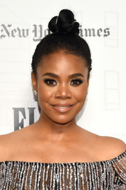Regina Hall styled her hair into a cute top knot for the 2018 Gotham Independent Film Awards.
