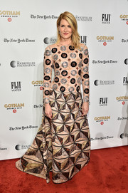 Laura Dern brought plenty of graphic appeal to the red carpet with this geometric-patterned gown by Fendi Couture at the 2019 Gotham Independent Film Awards.