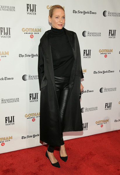 Uma Thurman kept it super simple in a black coat layered over a turtleneck and leather pants at the 2019 Gotham Independent Film Awards.