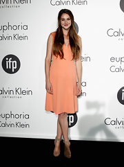 Shailene Woodley looked just peachy in this basic cocktail dress at the Women in Film celebration.