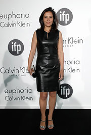 Joana Vicente looked sharp in this black leather sheath dress for the Women in Film celebration.