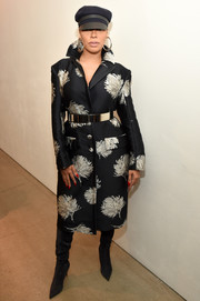 La La Anthony looked perfectly polished in a Prabal Gurung printed coat teamed with suede boots and a military cap at the NYFW: The Shows celebration.