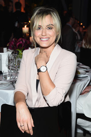 Taylor Schilling attended the IWC Schaffhausen Tribeca Film Fest event wearing a classic leather-band quartz watch.