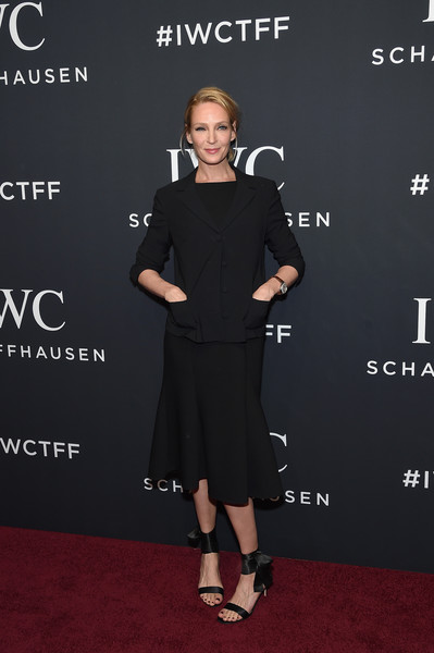 Uma Thurman kept it low-key in a black skirt suit at the IWC Schaffhausen Tribeca Film Fest event.