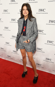 Leandra Medine suited up in fun style with this short gray number for the IWC Schaffhausen gala.