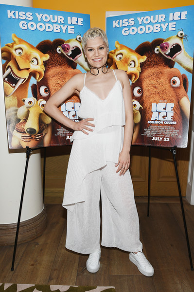 Jessie J went flirty in a low-cut, layered cami for the New York screening of 'Ice Age: Collision Course.'