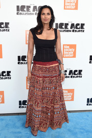Padma Lakshmi kept it casual in a printed maxi skirt and a black tank top at the New York screening of 'Ice Age: Collision Course.'