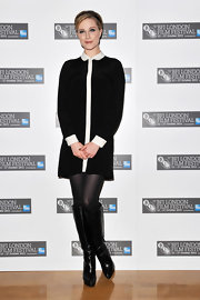 Evan Rachel Wood looked librarian chic in a black and white day dress with a contrasting white placket and peter pan collar.