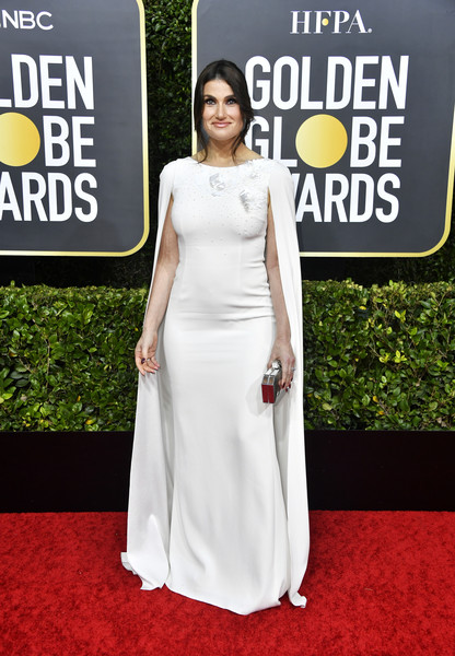 Idina Menzel Evening Dress [red carpet,white,clothing,carpet,dress,shoulder,premiere,fashion,flooring,gown,arrivals,idina menzel,the beverly hilton hotel,beverly hills,california,golden globe awards,idina menzel,golden globe awards,celebrity,red carpet,dress,the beverly hilton,earring,socialite]