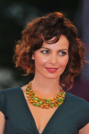 Violante Placido arrived at the premiere of 'Il Vilaggio di Cartone' wearing a gorgeous gemstone collar necklace.