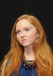 Lily Cole wore a chunky gemstone statement necklace for a glam finish during the 'Imaginarium of Doctor Parnassus' photocall.