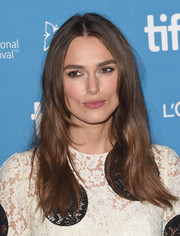 Keira Knightley wore her long locks in a straight style for 'The Imitation Game' press conference at the 2014 Toronto International Film Festival.