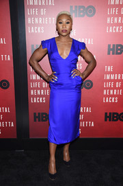 Cynthia Erivo was impossible to miss in her electric-blue midi dress at the New York premiere of 'The Immortal Life of Henrietta Lacks.'