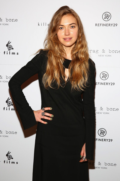 Imogen Poots Statement Ring [hair,clothing,dress,little black dress,hairstyle,blond,long hair,fashion model,cocktail dress,fashion,rag bone,imogen poots,partnership with rag bone,partnership,roxy hotel,new york city,the django,killer films,refinery29,20th anniversary celebration presented]