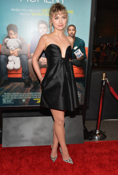 Imogen Poots Strapless Dress [that awkward moment,dress,clothing,carpet,cocktail dress,red carpet,premiere,shoulder,strapless dress,little black dress,leg,red carpet,imogen poots,that akward moment,california,los angeles,regal cinemas l.a. live,focus features,premiere,premiere]