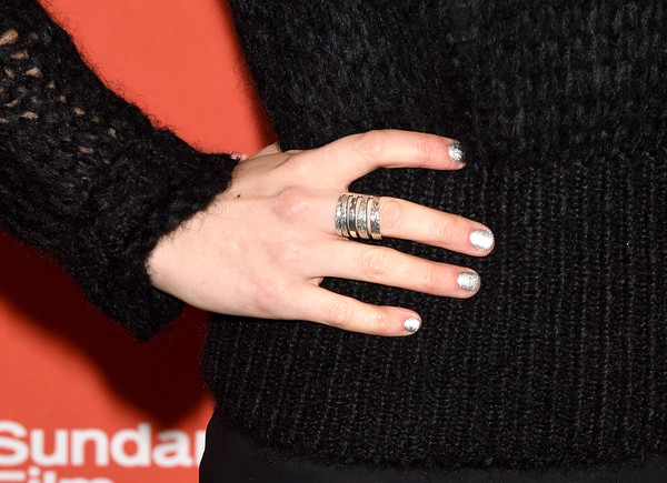 Imogen Poots Metallic Nail Polish [nail,finger,black,ring,nail polish,nail care,hand,manicure,engagement ring,outerwear,imogen poots,frank lola premiere - arrivals,jewelry detail,eccles center theatre,utah,park city,frank lola,sundance film festival,premiere]