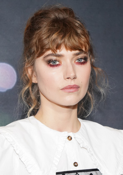 Imogen Poots Loose Bun [hair,face,hairstyle,eyebrow,lip,blond,bangs,chin,beauty,eye,imogen poots,screening,california,los angeles,regal la live,screening,black christmas]