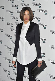 A black cropped jacket added a lot of flair to Ana Araujo's basic white button-down at the InStyle anniversary party.