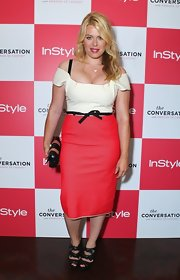 Amanda de Cadenet showed off her curves in this tri-tone dress at the 'InStyle' party.