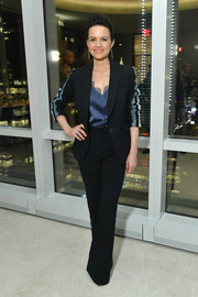 Carla Gugino looked smart in a side-striped pantsuit at the InStyle dinner celebrating the April issue.