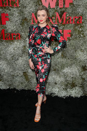 Peyton List went the ladylike route in a long-sleeve floral midi dress at the InStyle Max Mara Women in Film celebration.