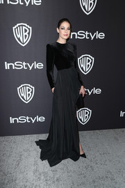 Michelle Monaghan was a goth beauty in a long-sleeve, dual-textured black gown by Alex Perry at the InStyle and Warner Bros. Golden Globes after-party.