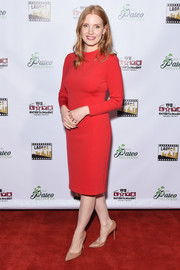 Jessica Chastain donned a simple red sheath dress by Ralph Lauren for the Los Angeles Online Film Critics Society Awards.