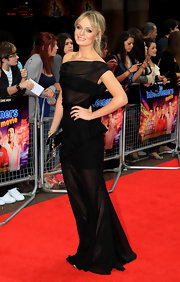 Laura Haddock looked breathtaking at the 'Inbetweeners' London premiere in a black sheer floor-sweeping evening dress.