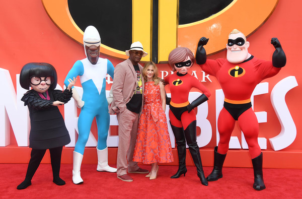 More Pics of Holly Hunter Long Wavy Cut (1 of 34) - Holly Hunter Lookbook - StyleBistro [red,cartoon,red carpet,carpet,animated cartoon,fictional character,event,animation,illustration,superhero,arrivals,samuel l jackson,holly hunter,incredibles 2,uk,england,london,bfi southbank,premiere,premiere]