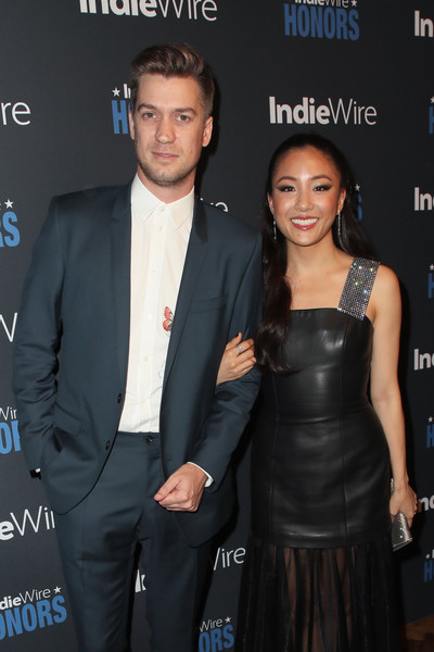 More Pics of Constance Wu Beaded Clutch (1 of 7) - Constance Wu Lookbook - StyleBistro [suit,event,formal wear,premiere,little black dress,tuxedo,dress,white-collar worker,smile,award,rafael casal,constance wu,indiewire honors 2018,no name,los angeles,california,l]