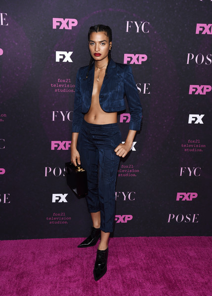 Indya Moore High Heel Oxfords [clothing,fashion,carpet,pink,premiere,footwear,magenta,flooring,dress,red carpet,indya moore,pose,fxx ``pose,hollywood,california,hollywood athletic club,fyc,event,fyc event]