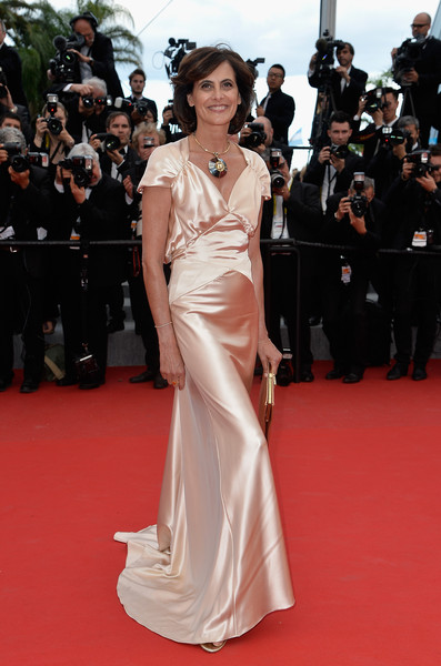 Ines de la Fressange Evening Dress [irrational man premiere - the 68th annual cannes film festival,fashion model,red carpet,dress,gown,carpet,clothing,shoulder,flooring,premiere,fashion,ines de la fressange,cannes,france,premiere,cannes film festival]