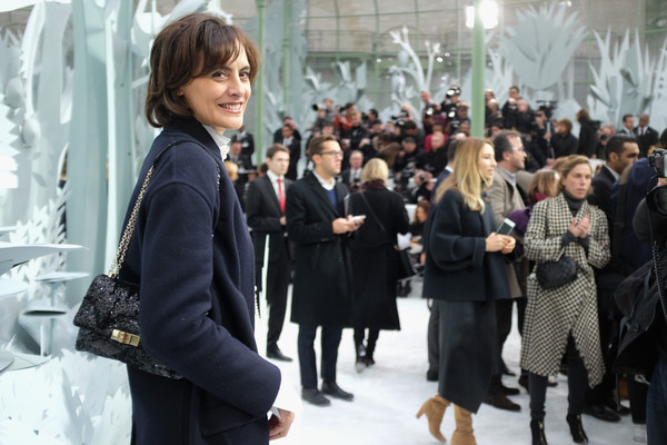 Ines de la Fressange Chain Strap Bag [s/,show,fashion,event,crowd,design,street fashion,outerwear,white-collar worker,fashion design,haute couture,fur,ines de la fressange,front row,part,paris,france,chanel,paris fashion week,haute couture spring]