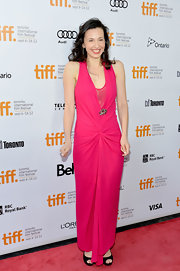 Ruba Nadda went for a standout look in this hot pink evening dress at the Toronto International Film Festival.